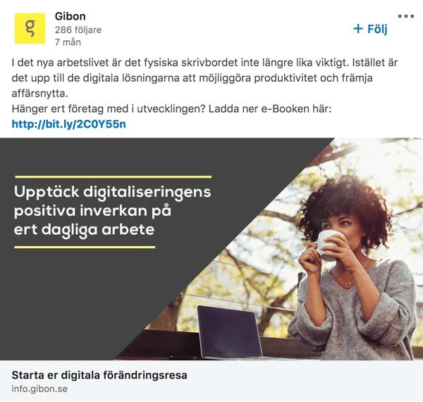 Gibon LinkedIn ad